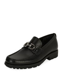 Salvatore Ferragamo Leather Lug Sole Loafer Black