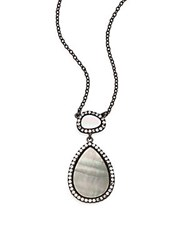 Freida Rothman Grey Mother Of Pearl Teardrop Pendant Necklace Silver