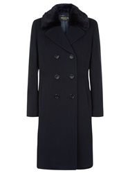 Precis Petite Double Breasted Wool Coat Navy