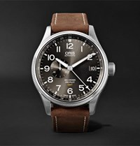 Oris Big Crown Propilot Gmt Automatic 45Mm Stainless Steel And Suede Watch Dark Brown
