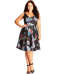 City Chic Plus Size Sleeveless Printed Empire Waist Dress