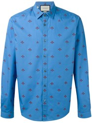 Gucci Bee Print Shirt Blue