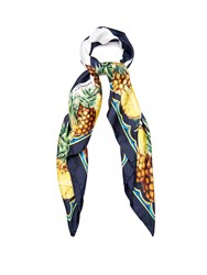 Dolce And Gabbana Stripe Pineapple Print Silk Scarf Blue Stripe