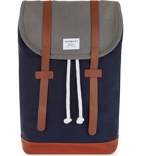 Sandqvist Stig Canvas Backpack Blue Orange Green