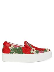 Kenneth Cole Joanie Leather Slip On Platform Sneakers Red Multi