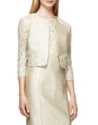 Kay Unger Metallic Lace Jacket Cream