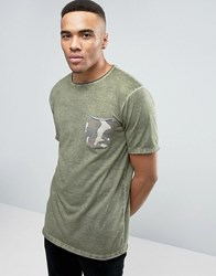 Redefined Rebel T Shirt With Contrast Camo Pocket Dark Olive Green