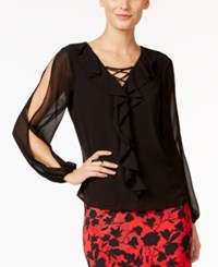 Thalia Sodi Lace Up Ruffled Blouse Only At Macy's Deep Black