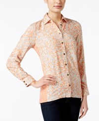 G.H. Bass And Co. Floral Print Long Sleeve Top Only At Macy's Papaya