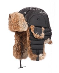 Crown Cap Quilted Nylon Aviator Hat With Rabbit Fur Black