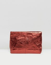 Asos Leather Metallic Flap Over Clutch Bag Burgundy Red