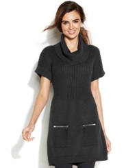 Alfani Short Sleeve Ribbed Cowl Neck Tunic
