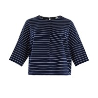 Paisie Striped Jersey Top With Front Neck Pleat In Navy And White