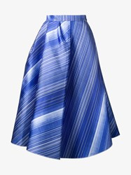 Vika Gazinskaya Silk Blend Stripe A Line Skirt Blue White