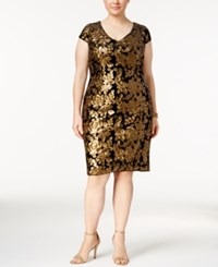 Adrianna Papell Plus Size Sequined Velvet Sheath Dress Black Gold