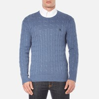 Polo Ralph Lauren Men's Long Sleeve Crew Neck Knitted Jumper Night Blue Heather