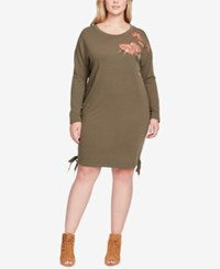 Jessica Simpson Trendy Plus Size Embroidered Lace Up Sweater Dress Sea Turtle
