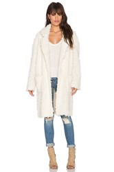 Minkpink Just Obsessed Faux Fur Coat Cream