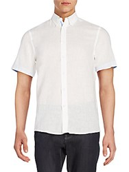 Report Collection Linen And Cotton Short Sleeve Shirt White