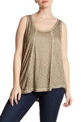 Melrose And Market Back Cutout Tank Plus Size Green