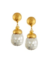 Jose And Maria Barrera Hammered Golden Mother Of Pearl Inlay Drop Earrings Women's