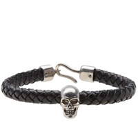 Alexander Mcqueen Skull Leather Bracelet Black