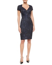 Theia Paisley Cutout Back Body Conscious Dress