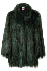 House Of Fluff Yeti Faux Fur Coat Forest Green