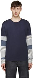 Loewe Navy Striped Sleeve T Shirt