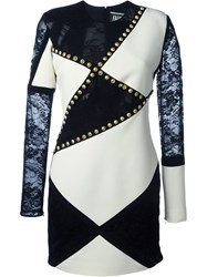 Fausto Puglisi Lace Panel Studded Dress Black