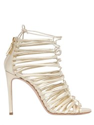 Casadei 100Mm Metallic Leather Cage Sandals