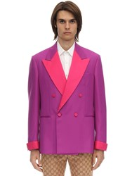 Gucci Double Breasted Wool Jacket Fuchsia