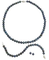 Macy's Sterling Silver Jewelry Set Black Cultured Freshwater Pearl And Diamond Accent Earrings Necklace And Bracelet White