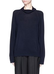 The Row 'Andel' Wool Cashmere Cowl Neck Sweater Blue