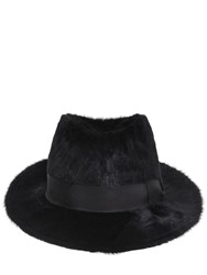 Dolce And Gabbana Rabbit Fur Fedora Hat Black