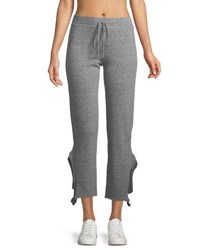 Lanston Crop Heathered Straight Leg Ruffle Pants Gray