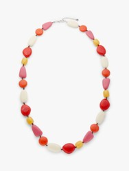 One Button Chunky Bead Long Necklace Multi