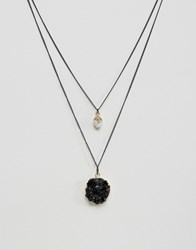 Asos Necklace Pack With Black Pendant Black