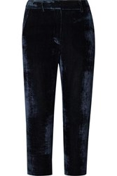 Sies Marjan Willa Cropped Silk And Cotton Blend Corduroy Straight Leg Pants Navy