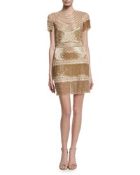 Naeem Khan Short Sleeve Fringe Cocktail Dress Gold