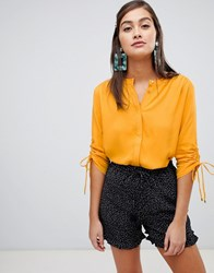 Soaked In Luxury Gathered Sleeve Shirt Yellow