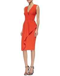 Victoria Beckham Deep V Neck Asymmetric Ruffle Dress Women's