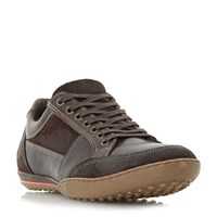 Dune Titan Mixed Leather Lace Up Trainers Brown