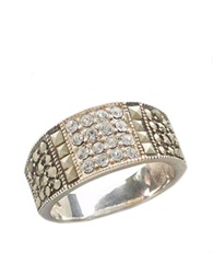 Lord And Taylor Sterling Silver And Marcasite Crystal Band Ring
