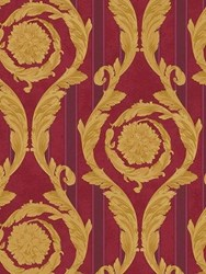 Versace Barocco And Stripes Printed Wallpaper Red Gold