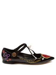 Dolce And Gabbana Heart Applique Patent Leather Flats Multi