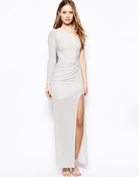 Jessica Wright Kristina Maxi Dress In Glitter Fabric White