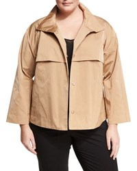 Lafayette 148 New York Tiegs Stand Collar Topper Jacket Gold