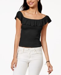 Almost Famous Juniors' Ruffle Smocked Crop Top Black