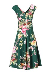 Jolie Moi Floral Print Fit And Flare Dress Dark Green